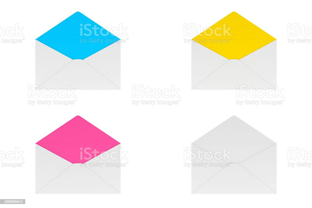 Blank Open Envelope Isolated on White, 3D Rendering stock photo