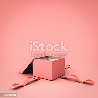 Blank open gift box or present box with red ribbon isolated on pink pastel color background with shadow 3D rendering