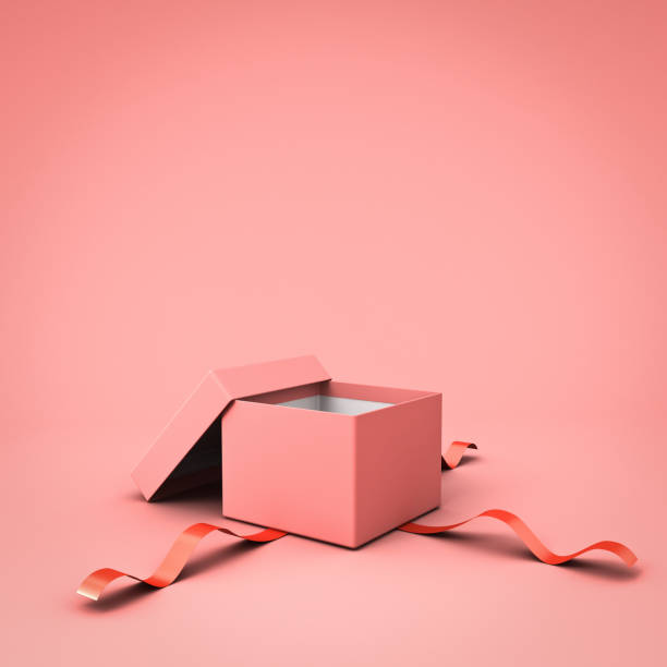 blank open gift box or present box with red ribbon isolated on pink pastel color background with shadow - gift box imagens e fotografias de stock
