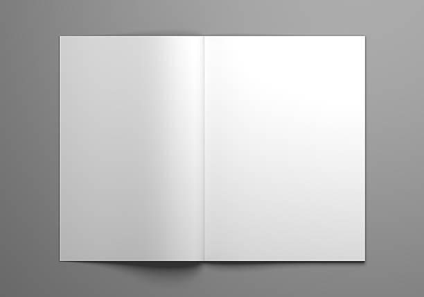 blank open magazine mock-up 3d illustration - zeitschrift aufgeschlagen stock-fotos und bilder