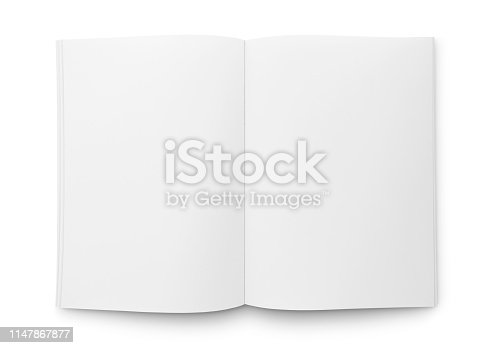 Blank open magazine/book/journal template isolated on white