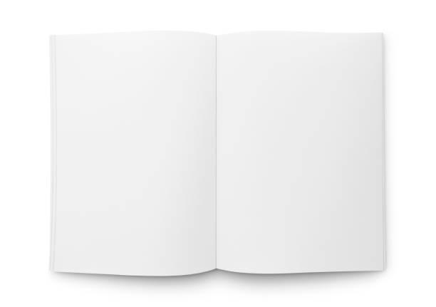 blank open magazine oder buch - buchseite stock-fotos und bilder