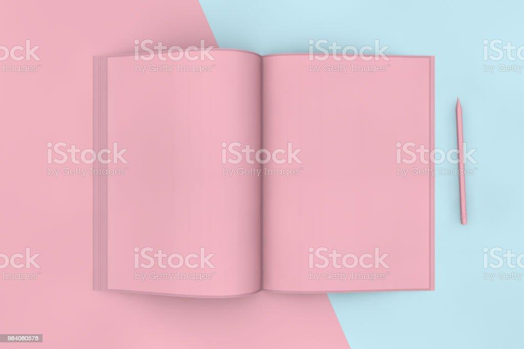 Modelo de revista aberto em branco e lápis - foto de acervo