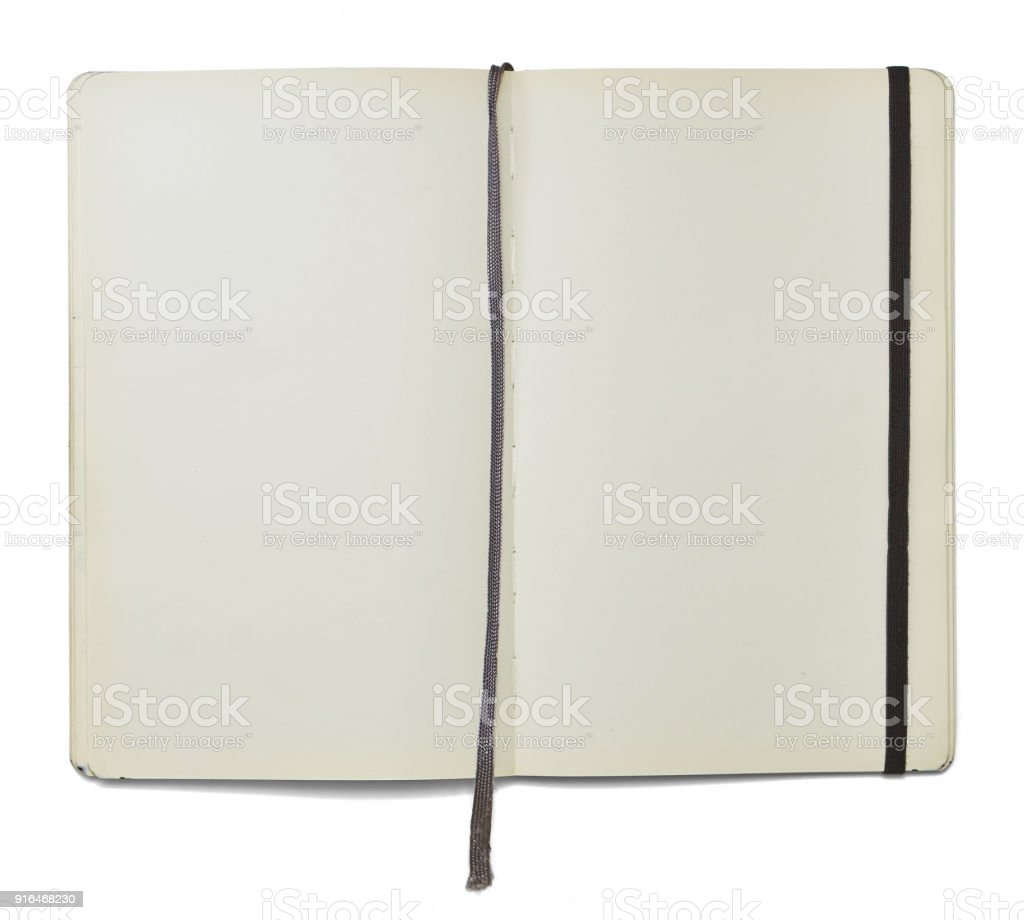 Blank open note book with a bookmark and an elastic closure. stock photo