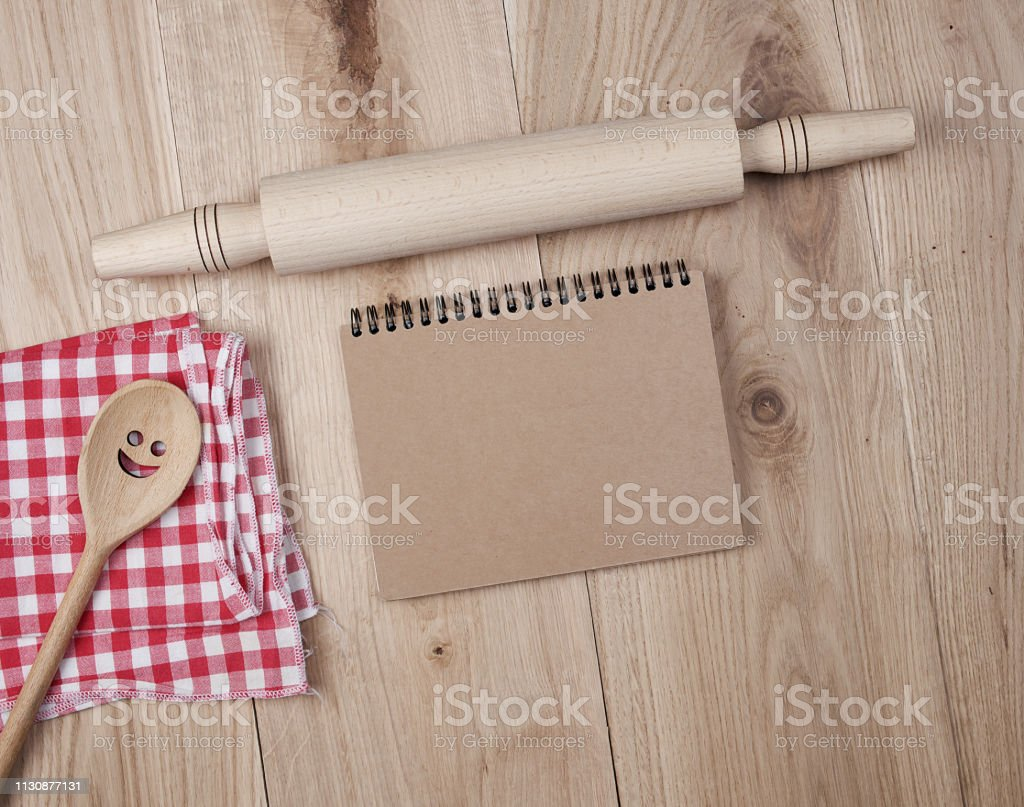blank open notebook in line and wooden kitchen accessories, recipe...