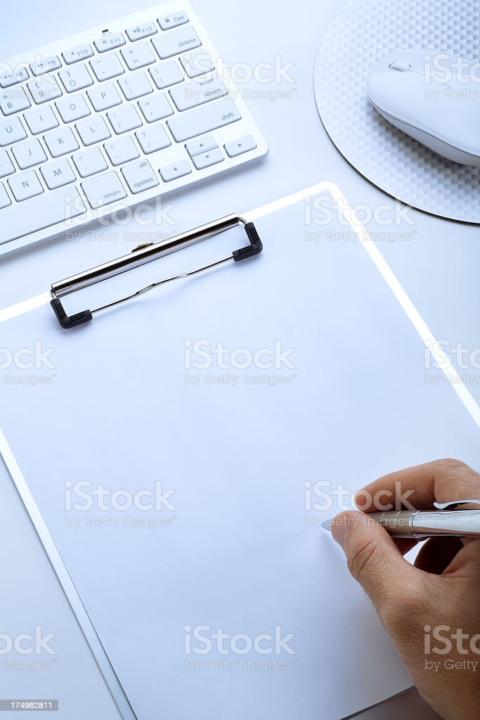 Blank Open Notepad and Computer Keyboard stock photo