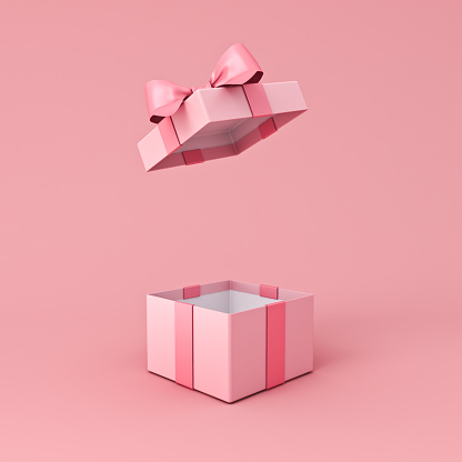 Blank open pink gift box or present box with pink ribbon bow isolated on light pink orange pastel color background with shadow minimal conceptual 3D rendering