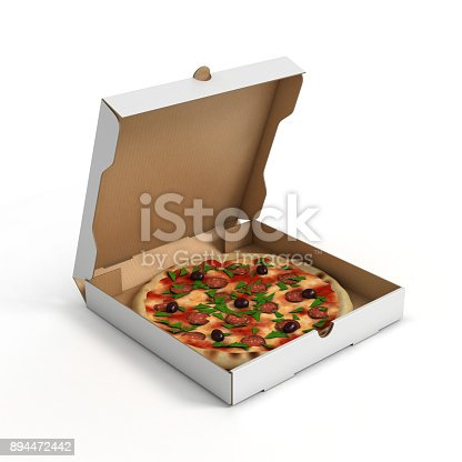 istock Blank open pizza box isolated 3d illustration on white background 894472442