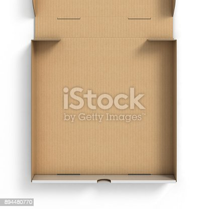 istock Blank open pizza box isolated 3d illustration on white background 894480770