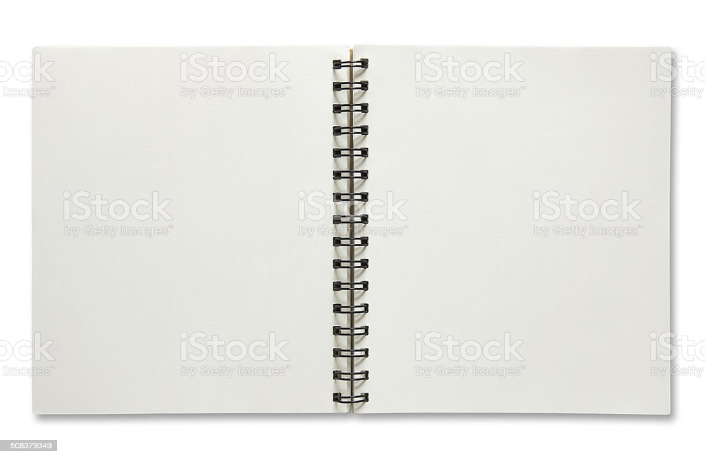 blank open spiral notebook stock photo