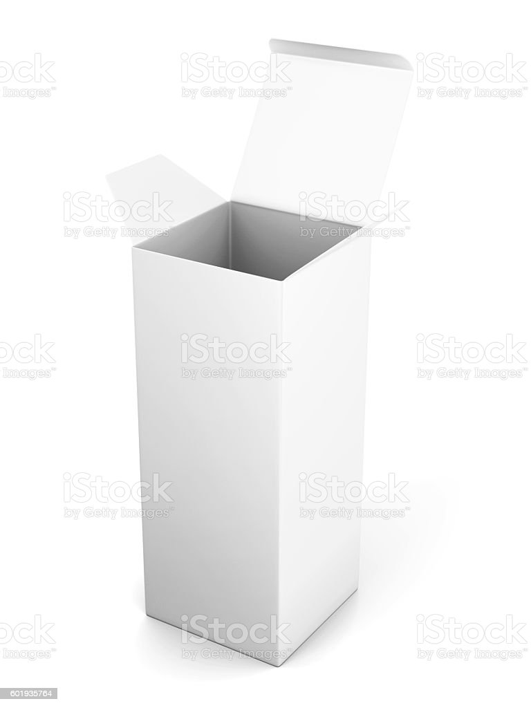 blank open vertical cardboard box template standing on white bac