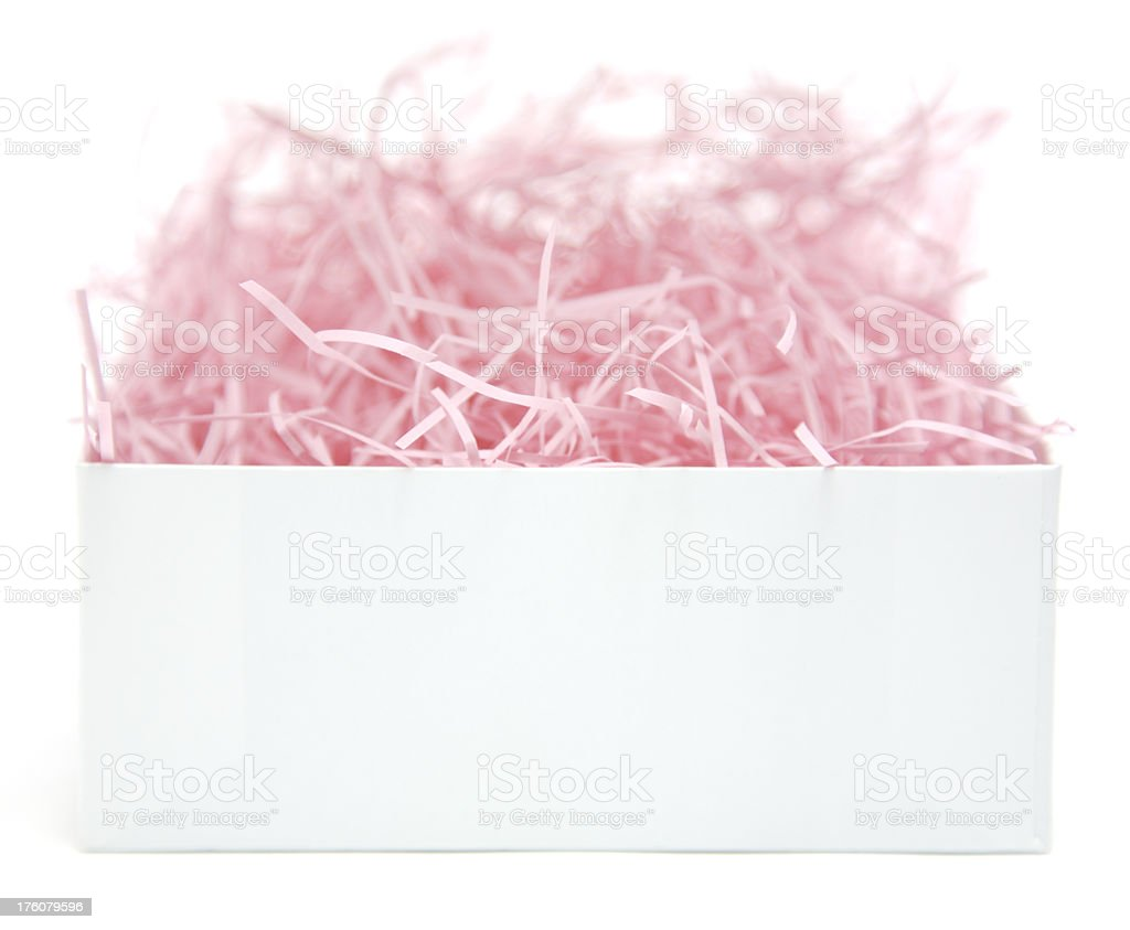 Blank open white box with pink packing material royalty-free stock photo