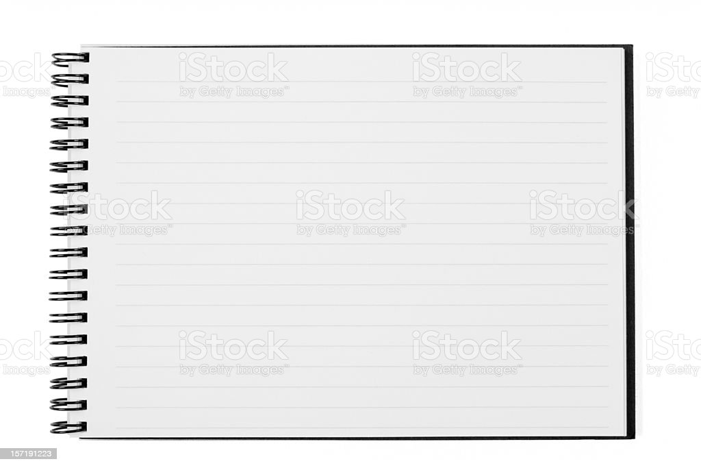 Blank Open Wide Notebook Isolated on White with Clipping Path stock photo