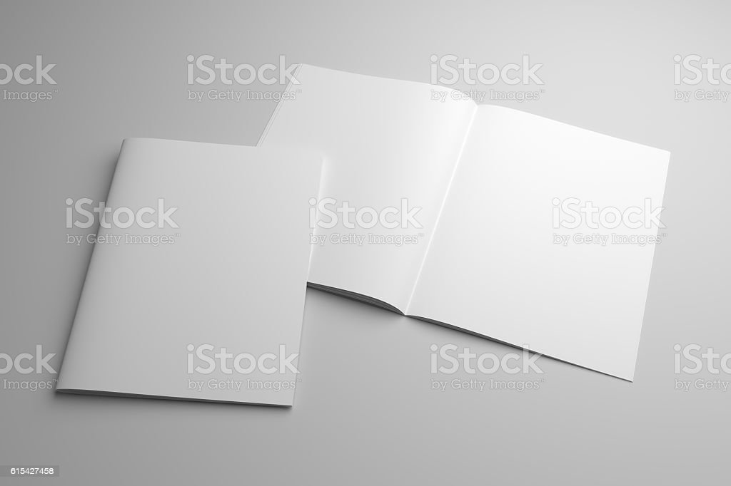 Blank opened 3D illustration magazine mock-up with cover stock photo