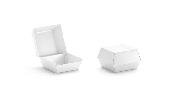 Blank opened and closed white burger box mockup, side view, 3d rendering. Empty chicken wings paper boxed mock up, isolated. Clear meal storage for takeout deliver cafe branding template.