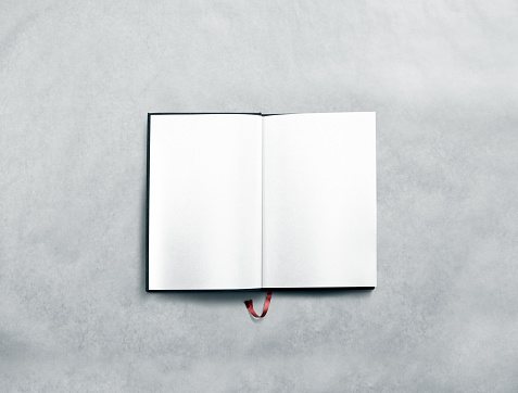 Blank opened book spread mock up with white pages