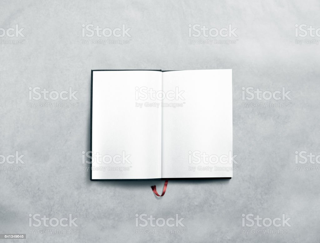 Blank opened book spread mock up with white pages stock photo