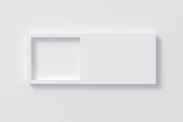 caixa de presente em branco aberto corrediça plana - box - fotografias e filmes do acervo