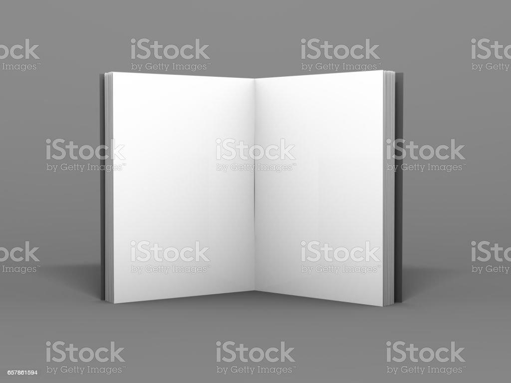 Blank Geöffnet Magazin Buch Broschüre O Broschüre 3drendering Stock ...