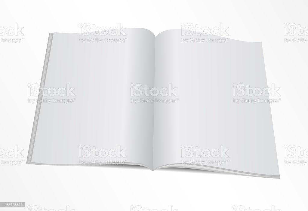 blank opened magazine mock template stock photo