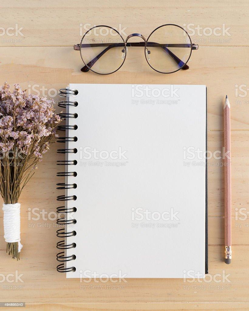Blank opened notebook stock photo
