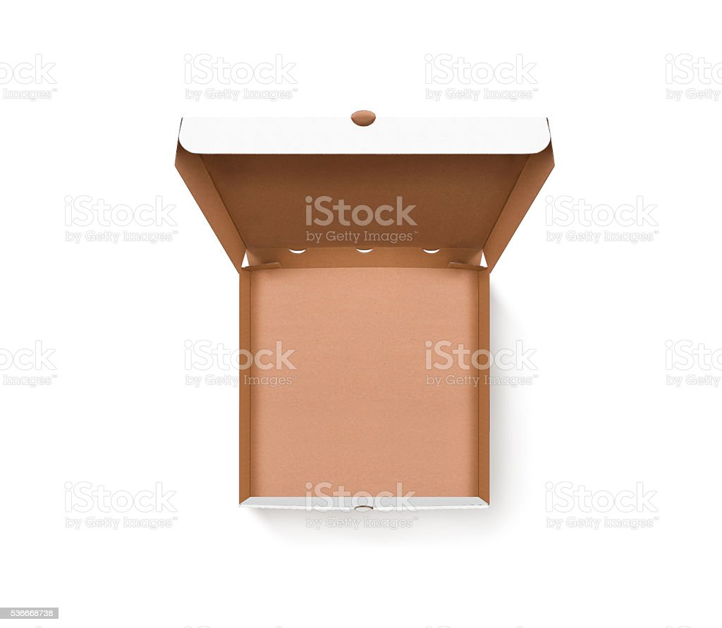 Blank opened pizza box design mock up top view isolated stock photo