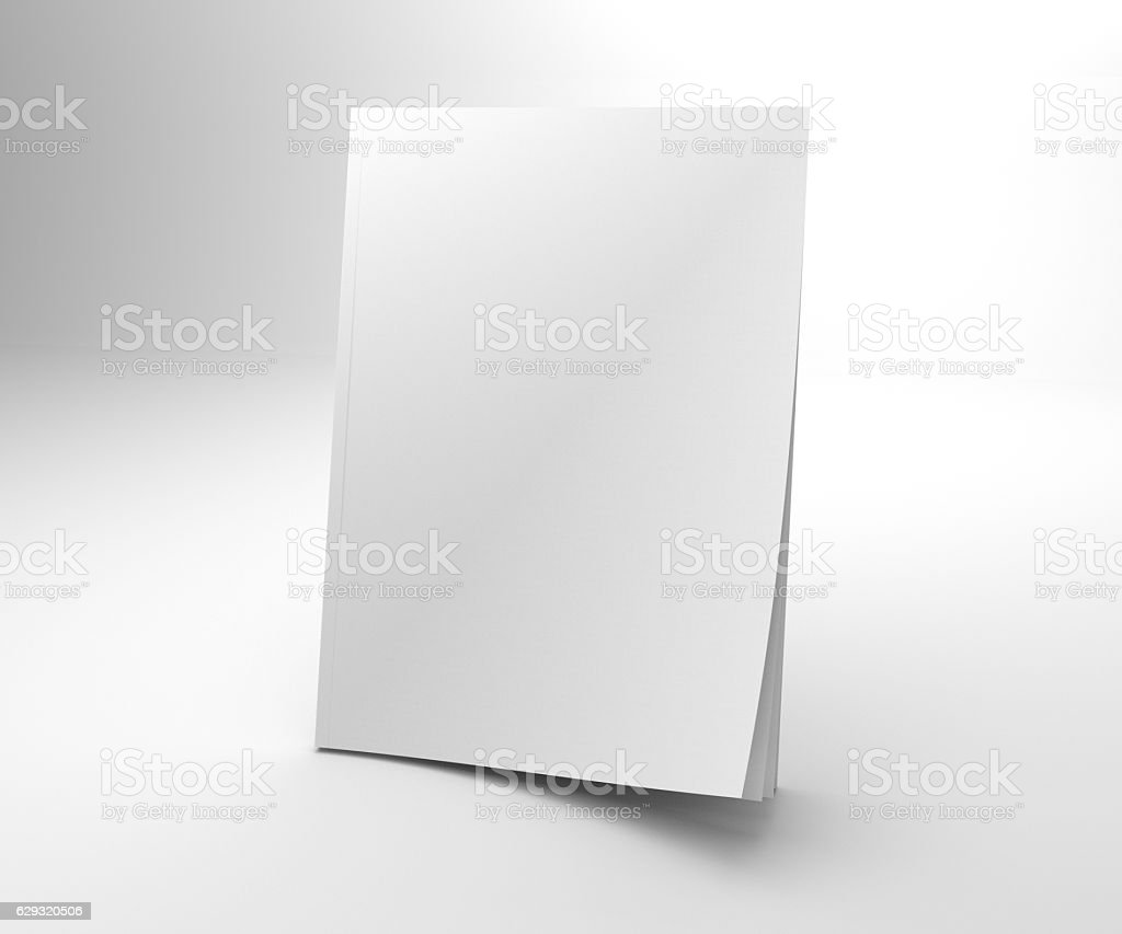 Blank opening corner 3D illustration magazine mock up. stock photo