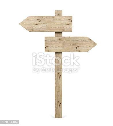 istock Blank Opposite Direction Wooden Arrow Sign 970166642