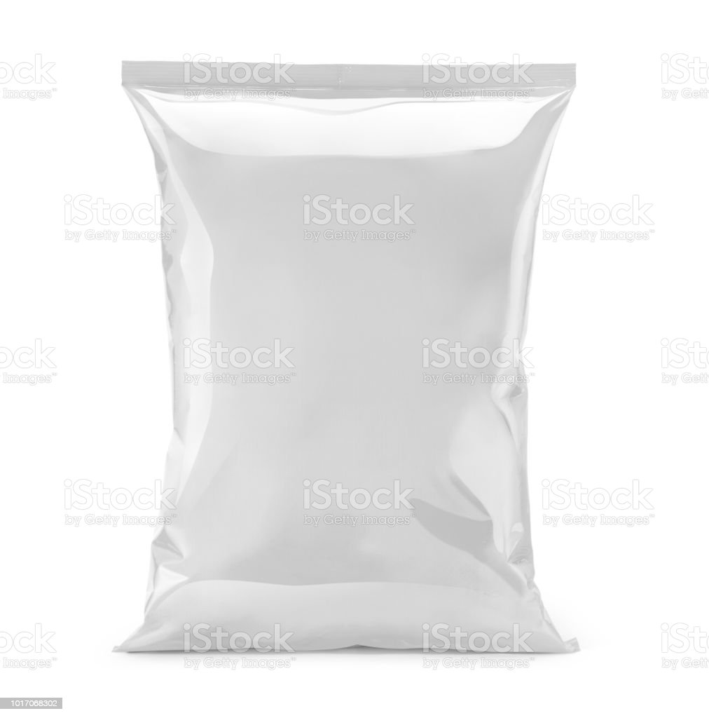 blank or white plastic bag snack packaging isolated on white stock photo