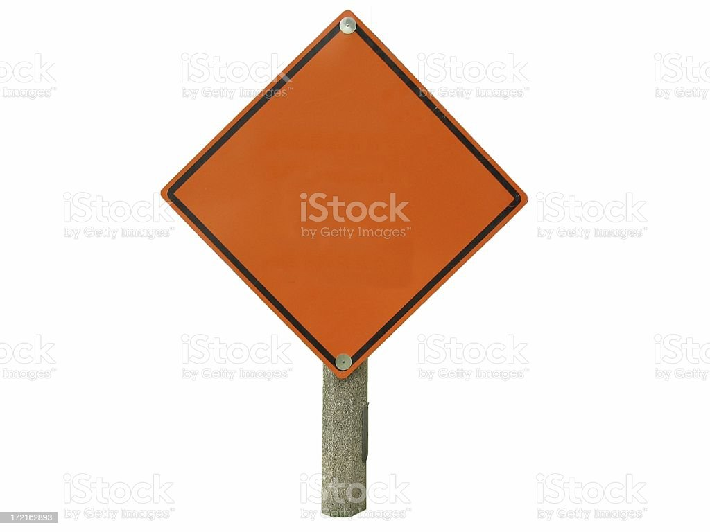 Blank Orange Construction Sign Isolated stock photo