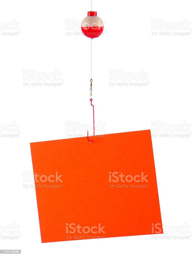 Blank Orange Fishing Sign Hanging from Hook, Line, and Bobber royalty-free stock photo