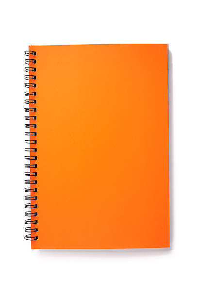 Blank orange Notebook Blank orange Notebook Isolated on white background. workbook stock pictures, royalty-free photos & images