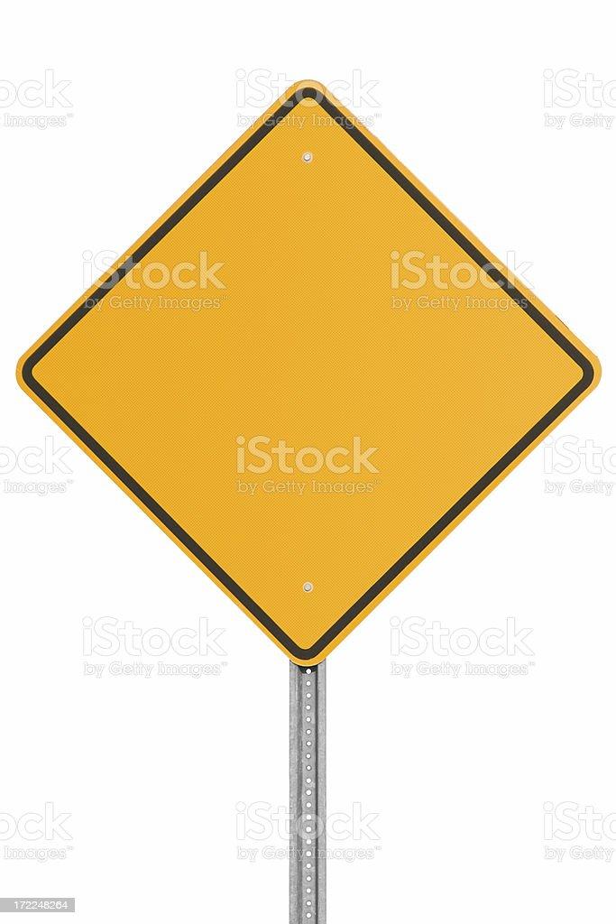 Blank orange traffic sign on white background royalty-free stock photo