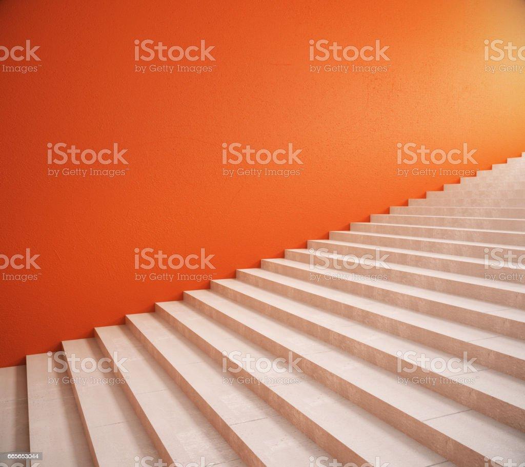 Leere orange Wand und Treppe – Foto