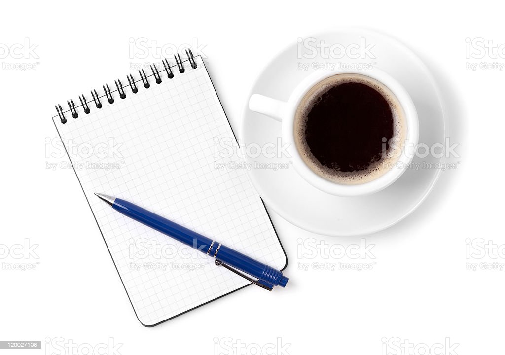 Blank organizer with pen and espresso cup royalty-free stock photo