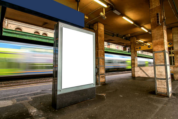 Blank outdoor advertising board at train station. stock photo