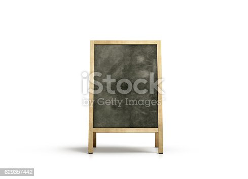 istock Blank outdoor chalkboard stand mockup, isolated, front view 629357442