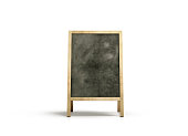 Blank outdoor chalkboard stand mockup, isolated, front view