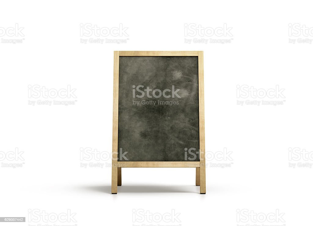 Blank outdoor chalkboard stand mockup, isolated, front view stock photo