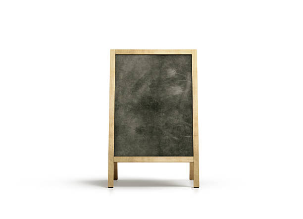 blank outdoor chalkboard stand mockup, isolated, front view - schreibtafel stock-fotos und bilder