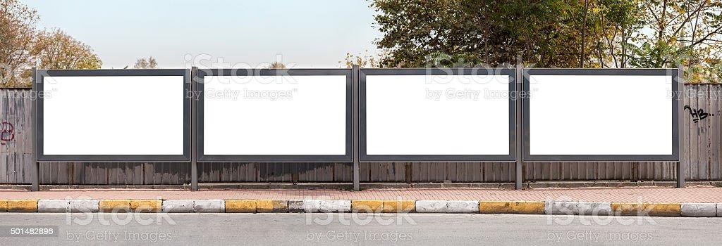 Blank outdoor - four billborads stock photo