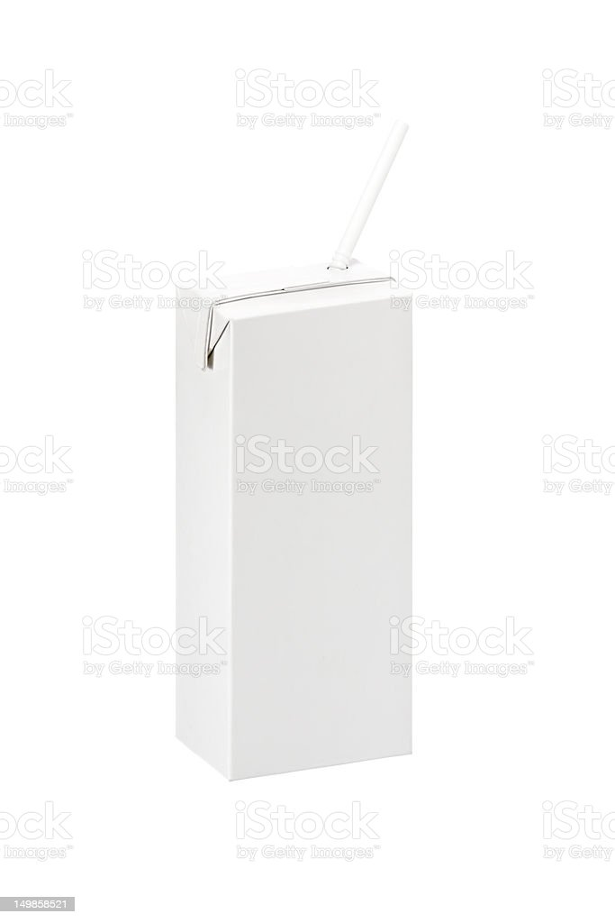 Blank pack box of Milk or juice with straw stock photo