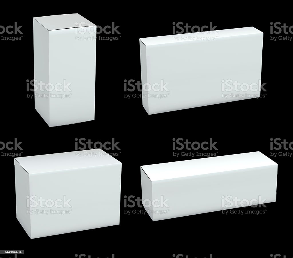 Blank packages isolated on black background royalty-free stock photo