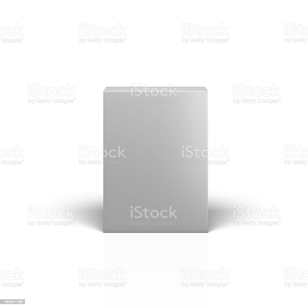 Blank packaging box front view on white background stock photo
