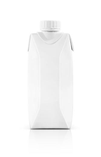 Photo libre de droit de Blank Packaging Milk Container Box With Plastic Cap Isolated On White Background And Clipping Path banque d'images et plus d'images libres de droit de {top keyword}