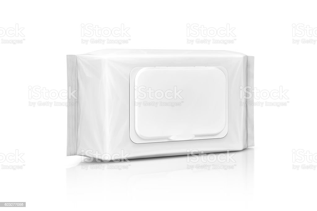 blank packaging paper wet wipes pouch isolated on white stock photo
