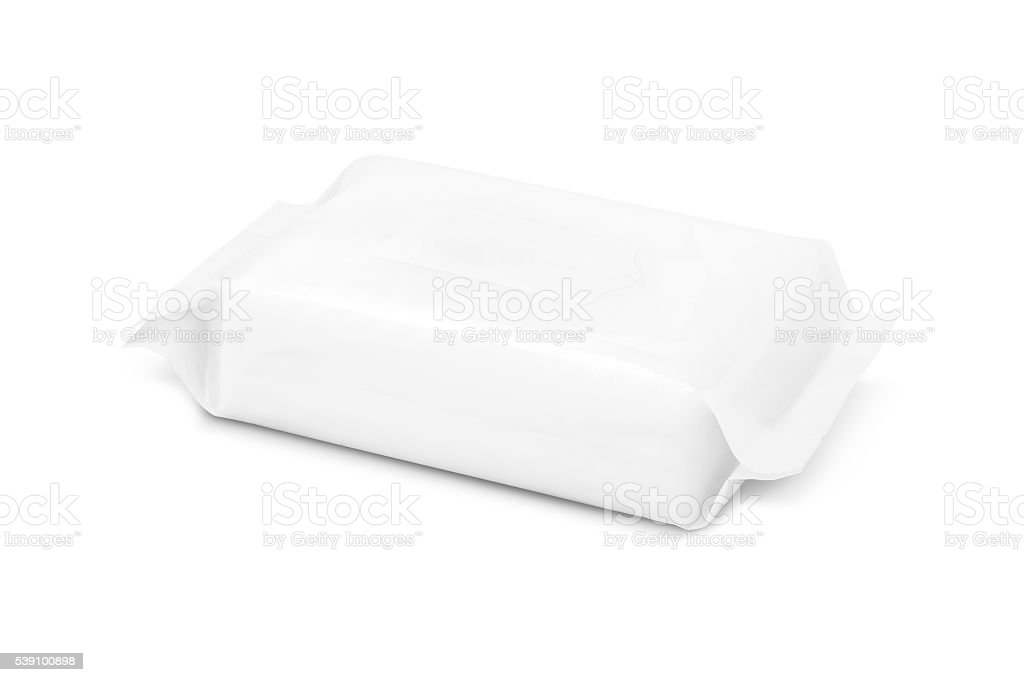 blank packaging paper wipes pouch isolated on white background stock photo