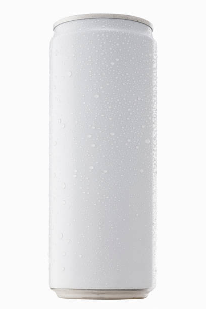 Blank packaging white can with cool water droplet - condensation, for drink beverage product design mock-up Isolated on white background with clipping path stock photo