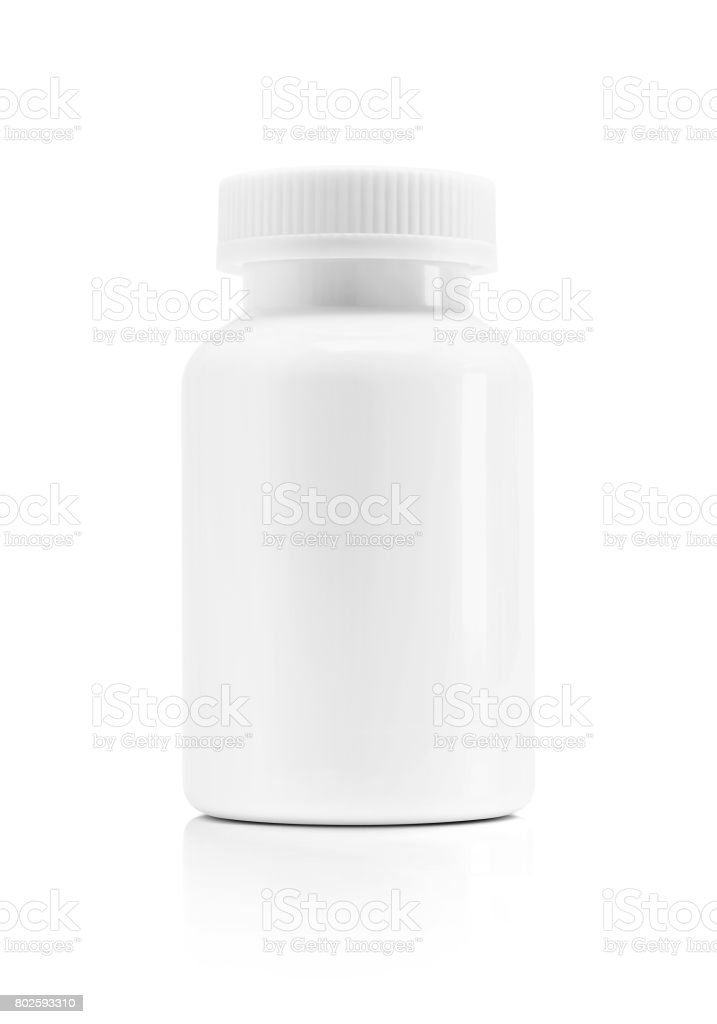 Blank packaging white plastic bottle for supplement product isolated on white background with clipping path - foto stock