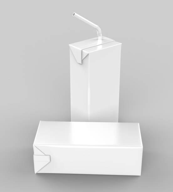 Blanc de rendu réaliste pour maquettes modèle design blanc pack de paquet Carton jus & lait avec de la paille. Illustration 3D - Photo